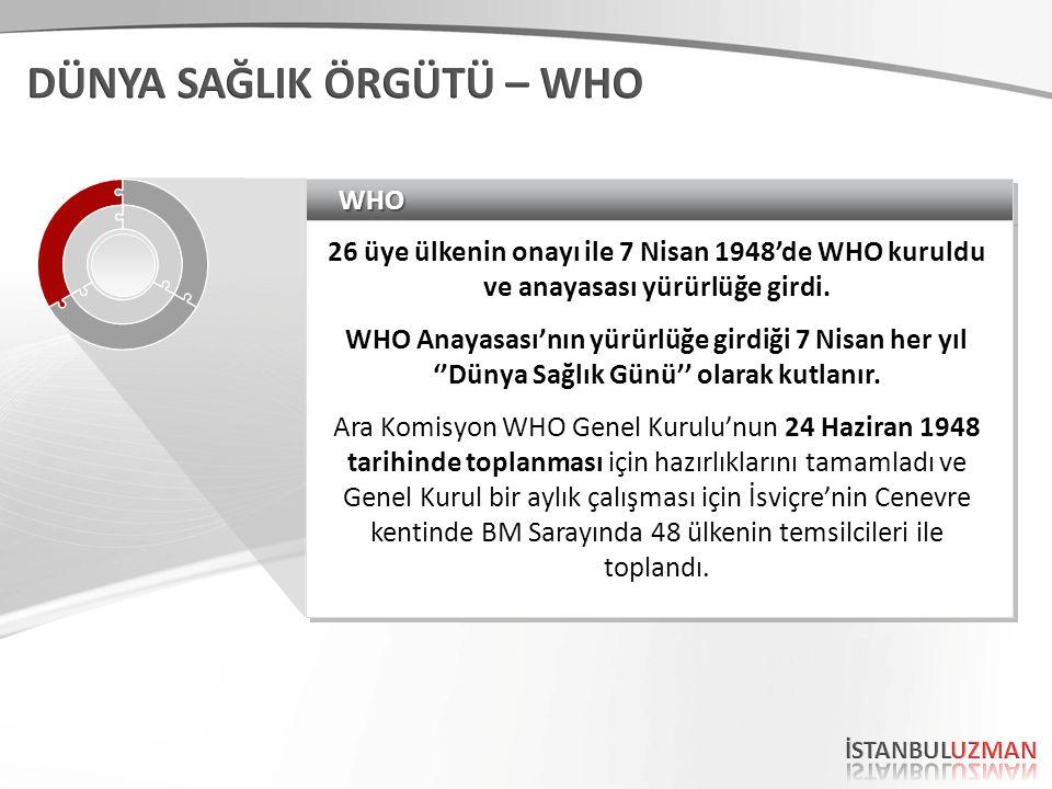 WHOWHO 26 üye ülkenin onayı ile 7 Nisan 1948'de WHO kuruldu ve anayasası yürürlüğe girdi.