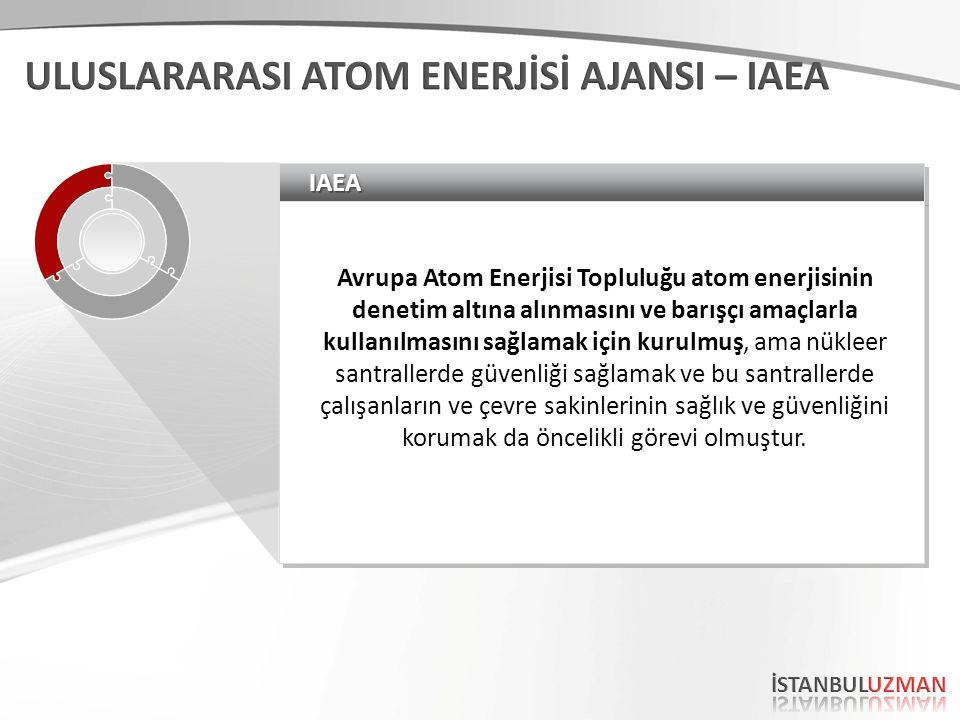 IAEAIAEA Avrupa Atom Enerjisi Topluluğu atom enerjisinin denetim altına alınmasını ve barışçı amaçlarla kullanılmasını sağlamak için kurulmuş, ama nükleer santrallerde güvenliği sağlamak ve bu santrallerde çalışanların ve çevre sakinlerinin sağlık ve güvenliğini korumak da öncelikli görevi olmuştur.