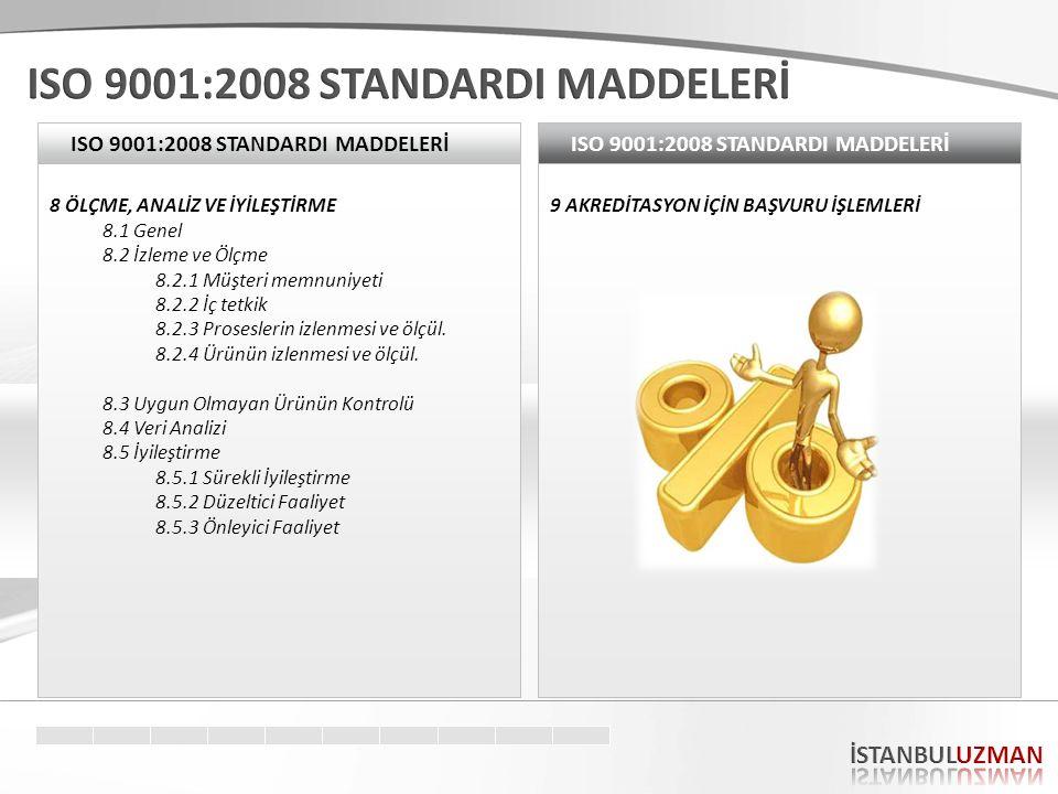 ISO 9001:2008 STANDARDI MADDELERİ 8 ÖLÇME, ANALİZ VE İYİLEŞTİRME 8.1 Genel 8.2 İzleme ve Ölçme 8.2.1 Müşteri memnuniyeti 8.2.2 İç tetkik 8.2.3 Proseslerin izlenmesi ve ölçül.