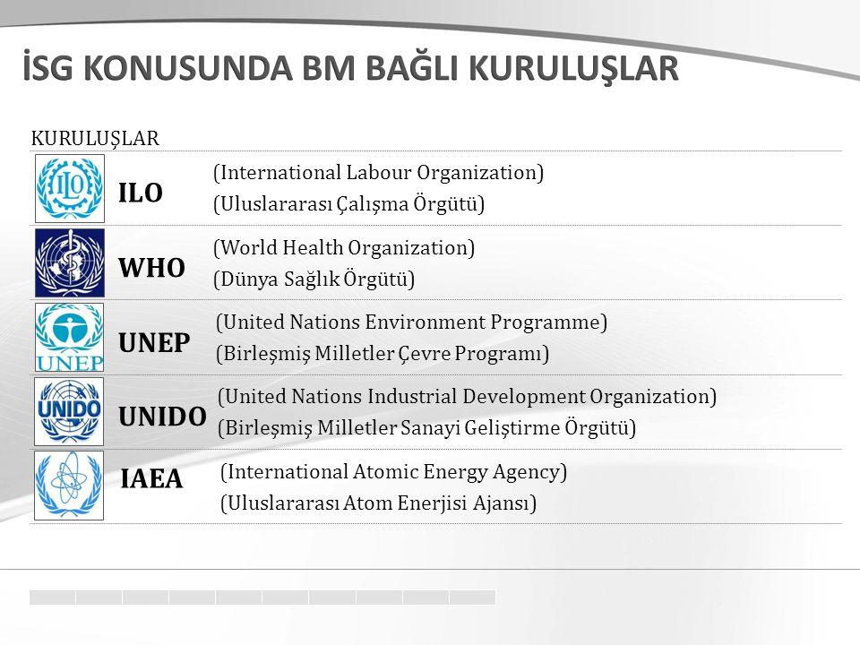 (International Labour Organization) (Uluslararası Çalışma Örgütü) (World Health Organization) (Dünya Sağlık Örgütü) (United Nations Environment Programme) (Birleşmiş Milletler Çevre Programı) (United Nations Industrial Development Organization) (Birleşmiş Milletler Sanayi Geliştirme Örgütü) (International Atomic Energy Agency) (Uluslararası Atom Enerjisi Ajansı) ILO WHO UNEP UNIDO IAEA KURULUŞLAR