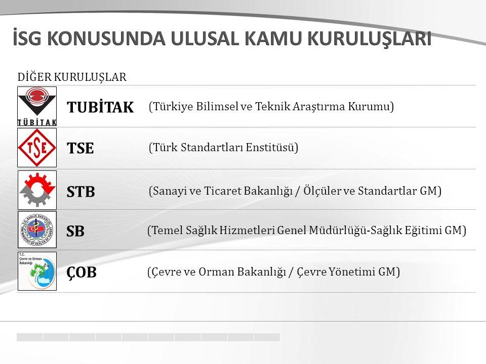 (Türkiye Bilimsel ve Teknik Araştırma Kurumu) (Türk Standartları Enstitüsü) TUBİTAK TSE DİĞER KURULUŞLAR (Sanayi ve Ticaret Bakanlığı / Ölçüler ve Standartlar GM) STB (Temel Sağlık Hizmetleri Genel Müdürlüğü-Sağlık Eğitimi GM) SB (Çevre ve Orman Bakanlığı / Çevre Yönetimi GM) ÇOB