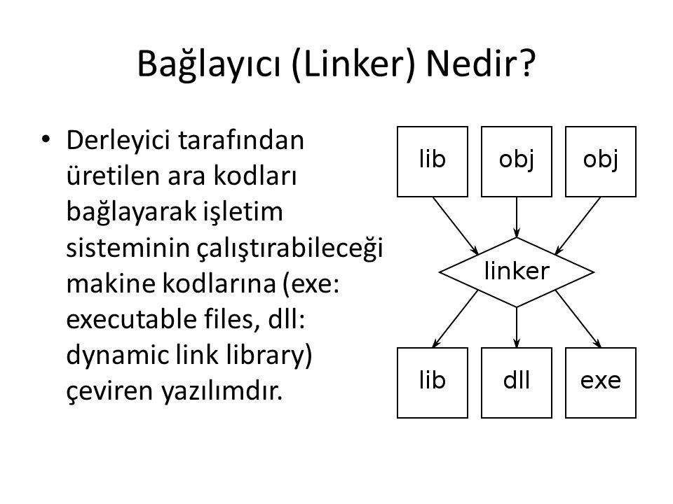 Bağlayıcı (Linker) Nedir? Derleyici tarafından üretilen ara kodları bağlayarak işletim sisteminin çalıştırabileceği makine kodlarına (exe: executable