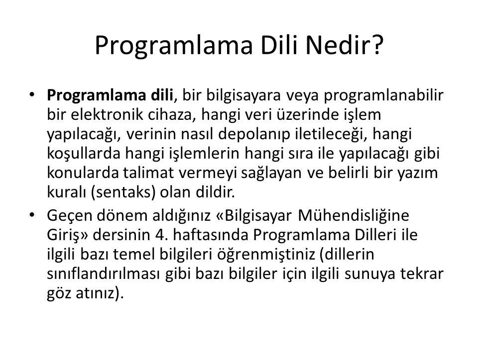 Programlama Dili Nedir? Programlama dili, bir bilgisayara veya programlanabilir bir elektronik cihaza, hangi veri üzerinde işlem yapılacağı, verinin n