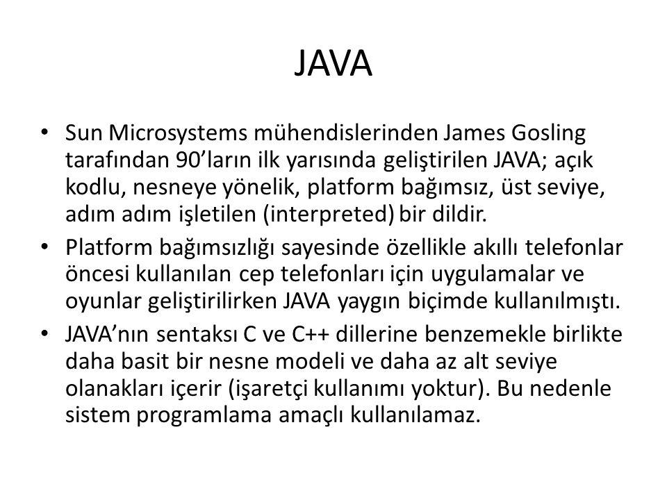 JAVA Sun Microsystems mühendislerinden James Gosling tarafından 90'ların ilk yarısında geliştirilen JAVA; açık kodlu, nesneye yönelik, platform bağımsız, üst seviye, adım adım işletilen (interpreted) bir dildir.