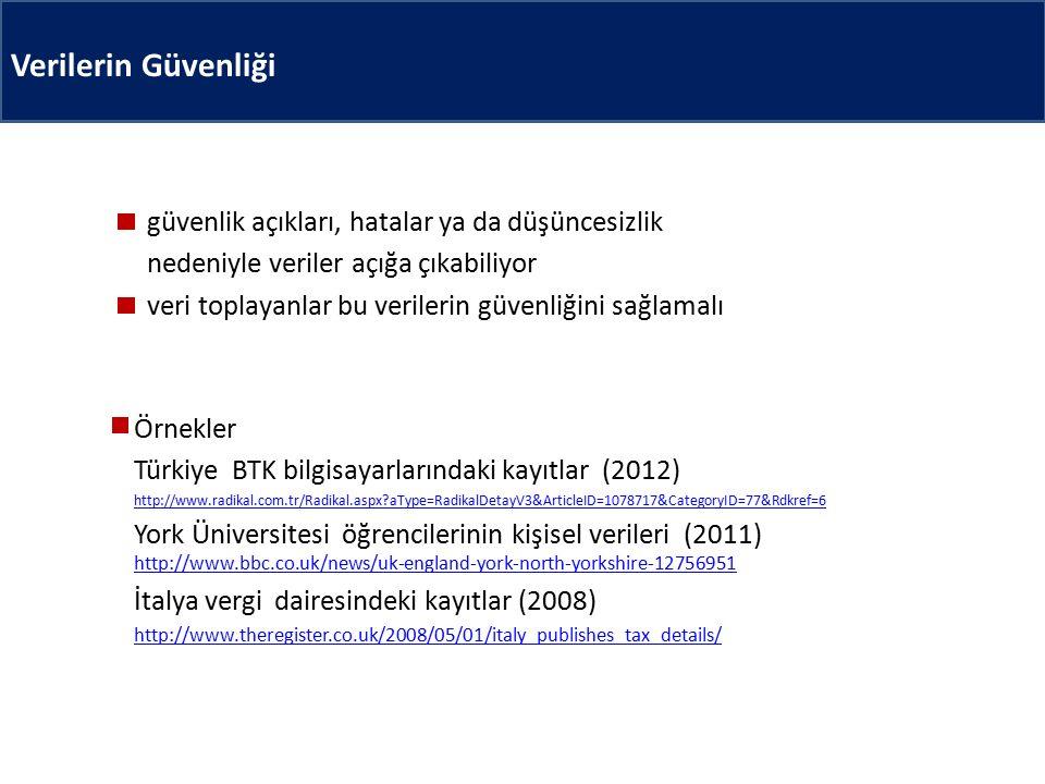 Verilerin Güvenliği güvenlik açıkları, hatalar ya da düşüncesizlik nedeniyle veriler açığa çıkabiliyor veri toplayanlar bu verilerin güvenliğini sağlamalı Örnekler Türkiye BTK bilgisayarlarındaki kayıtlar (2012) http://www.radikal.com.tr/Radikal.aspx aType=RadikalDetayV3&ArticleID=1078717&CategoryID=77&Rdkref=6 York Üniversitesi öğrencilerinin kişisel verileri (2011) http://www.bbc.co.uk/news/uk-england-york-north-yorkshire-12756951 http://www.bbc.co.uk/news/uk-england-york-north-yorkshire-12756951 İtalya vergi dairesindeki kayıtlar (2008) http://www.theregister.co.uk/2008/05/01/italy_publishes_tax_details/