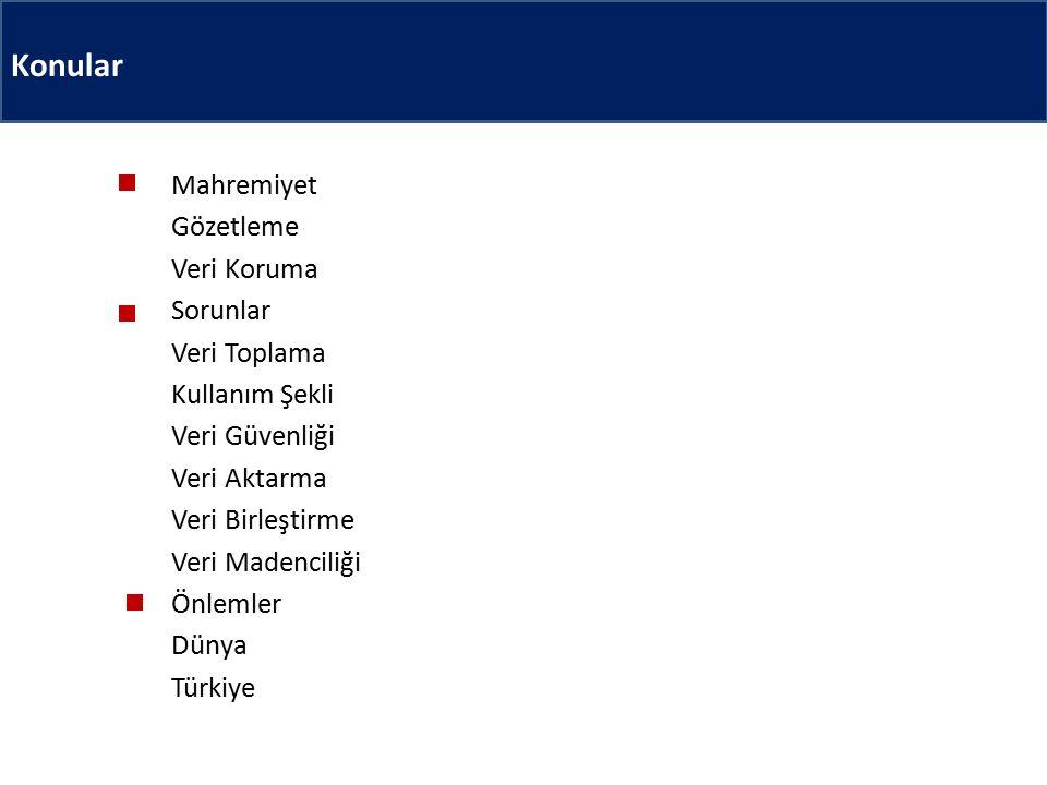 Türkiye Bilgi Edinme Hakkı Yasası (2003) bilgi edinme hakkı (4) bilgi verme yükümlülüğü (5) itirazlar için Bilgi Edinme Değerlendirme Kurulu (13) sınırlamalar: devlet sırrı (16), ülkenin ekonomik çıkarları (17), istihbarat (18), idari ve adli soruşturmalar (19,20), özel hayatın gizliliği (21), haberleşmenin gizliliği (22), ticari sır (23) ihmal, kusur ya da kasıt durumunda ceza kovuşturması (29)