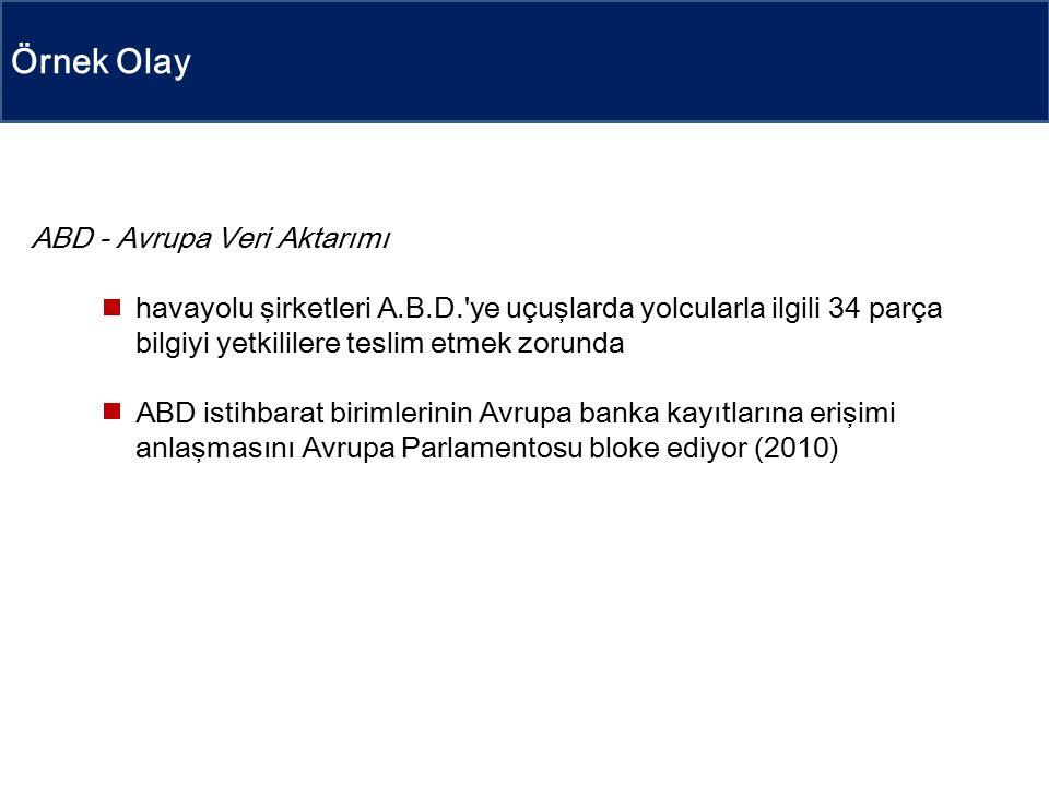 Örnek Olay ABD - Avrupa Veri Aktarımı havayolu şirketleri A.B.D. ye uçuşlarda yolcularla ilgili 34 parça bilgiyi yetkililere teslim etmek zorunda ABD istihbarat birimlerinin Avrupa banka kayıtlarına erişimi anlaşmasını Avrupa Parlamentosu bloke ediyor (2010)