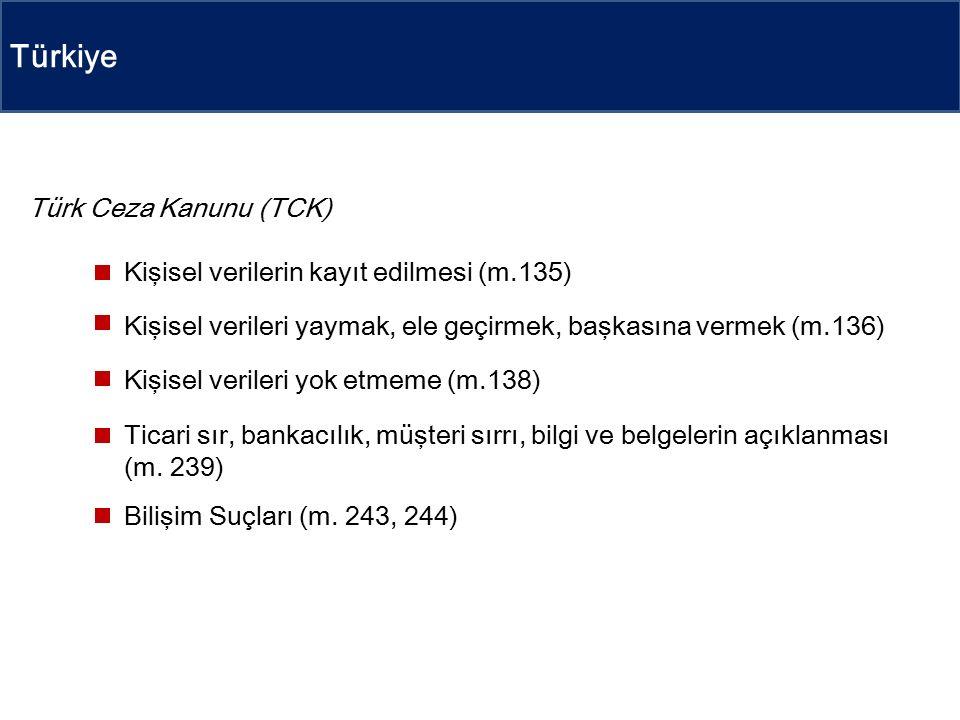 Türkiye Türk Ceza Kanunu (TCK) Kişisel verilerin kayıt edilmesi (m.135) Kişisel verileri yaymak, ele geçirmek, başkasına vermek (m.136) Kişisel verileri yok etmeme (m.138) Ticari sır, bankacılık, müşteri sırrı, bilgi ve belgelerin açıklanması (m.
