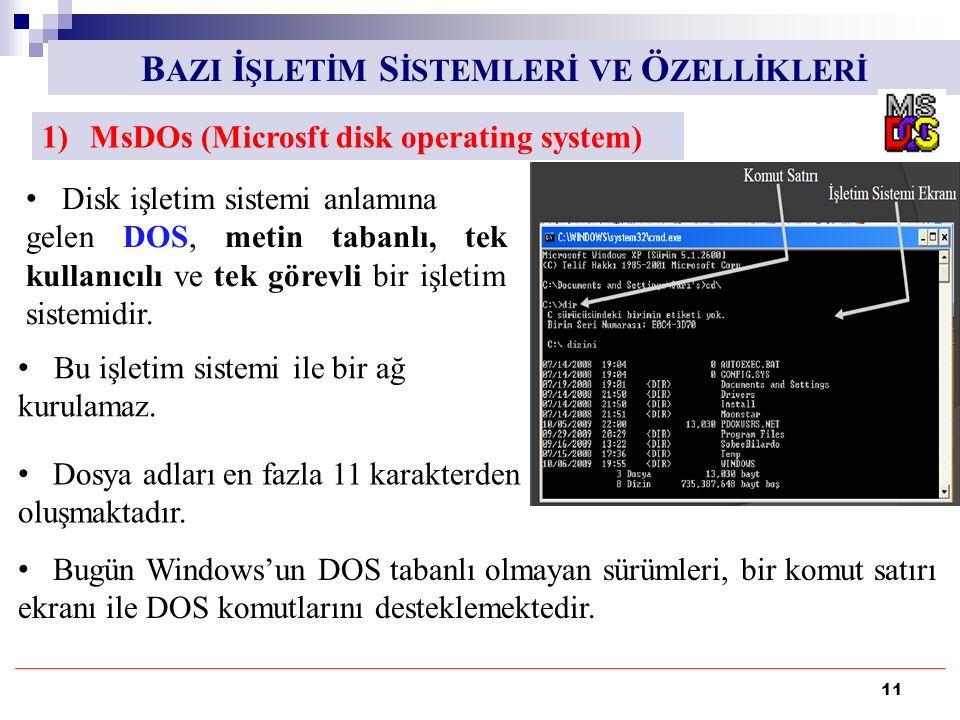 11 1)MsDOs (Microsft disk operating system) B AZI İ ŞLETİM S İSTEMLERİ VE Ö ZELLİKLERİ Disk işletim sistemi anlamına gelen DOS, metin tabanlı, tek kullanıcılı ve tek görevli bir işletim sistemidir.