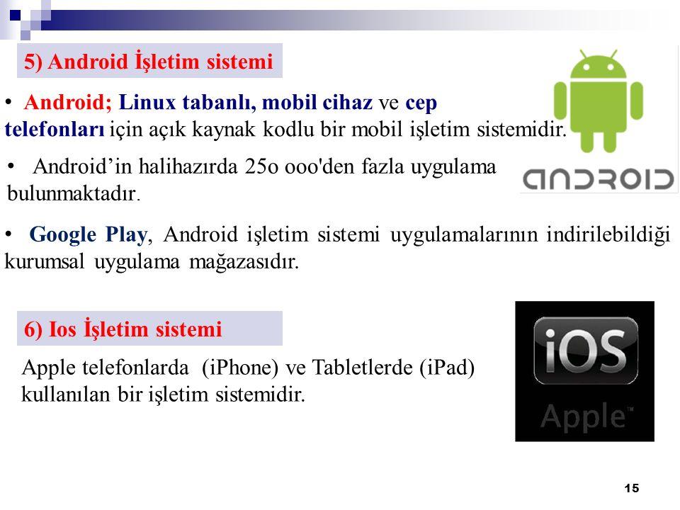 15 5) Android İşletim sistemi Android; Linux tabanlı, mobil cihaz ve cep telefonları için açık kaynak kodlu bir mobil işletim sistemidir.