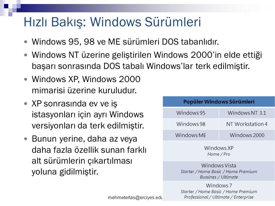 mehmetertas@erciyes.edu.tr 22 Hızlı Bakış: Windows Sürümleri Windows 95, 98 ve ME sürümleri DOS tabanlıdır.