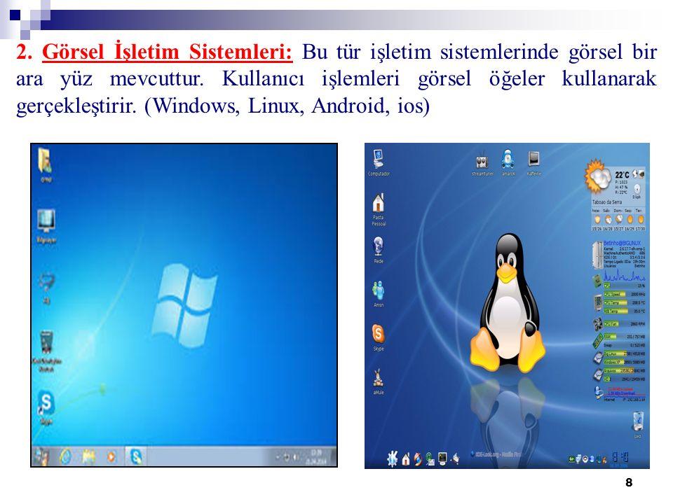 8 2. Görsel İşletim Sistemleri: Bu tür işletim sistemlerinde görsel bir ara yüz mevcuttur.