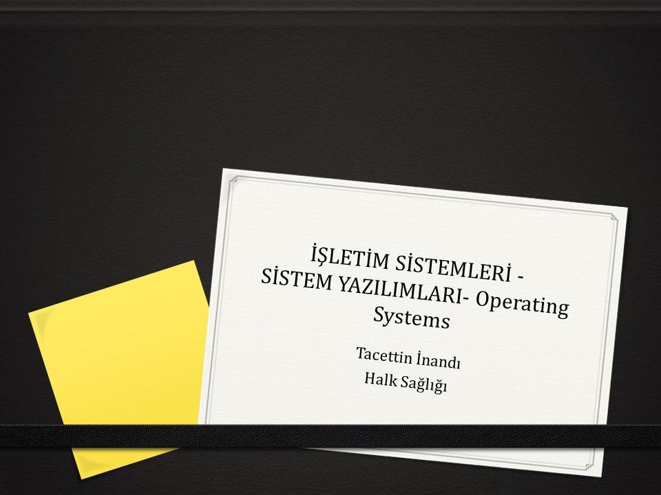 İŞLETİM SİSTEMLERİ - SİSTEM YAZILIMLARI- Operating Systems Tacettin İnandı Halk Sağlığı