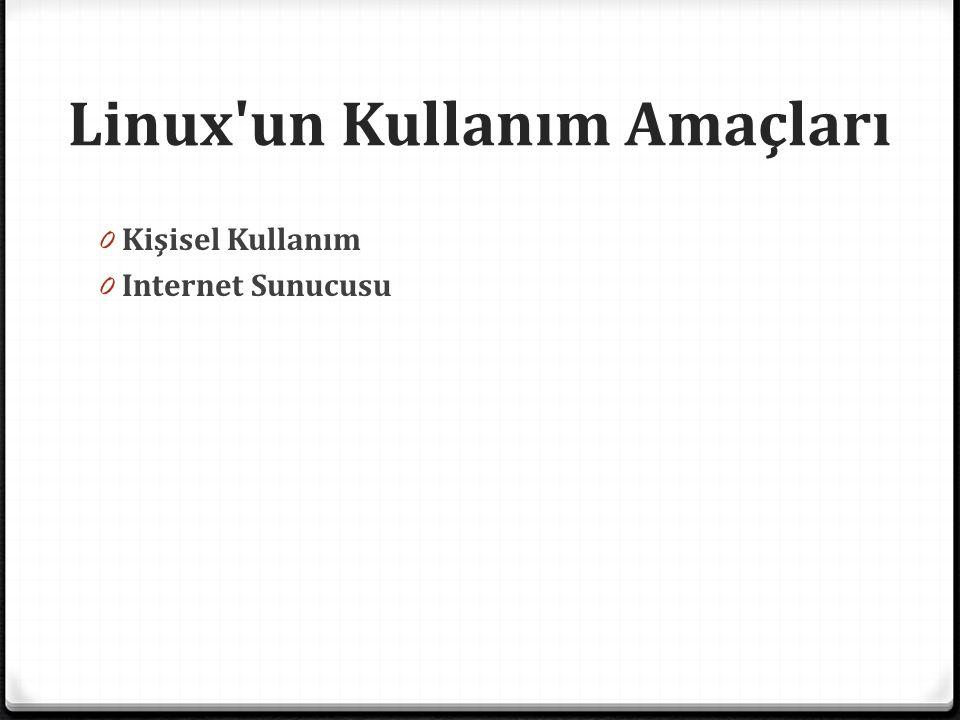 Linux'un Kullanım Amaçları 0 Kişisel Kullanım 0 Internet Sunucusu