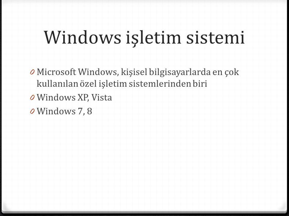 Windows işletim sistemi 0 Microsoft Windows, kişisel bilgisayarlarda en çok kullanılan özel işletim sistemlerinden biri 0 Windows XP, Vista 0 Windows 7, 8