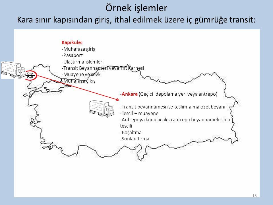 Örnek işlemler Kara sınır kapısından giriş, ithal edilmek üzere iç gümrüğe transit: Kapıkule: -Muhafaza giriş -Pasaport -Ulaştırma işlemleri -Transit