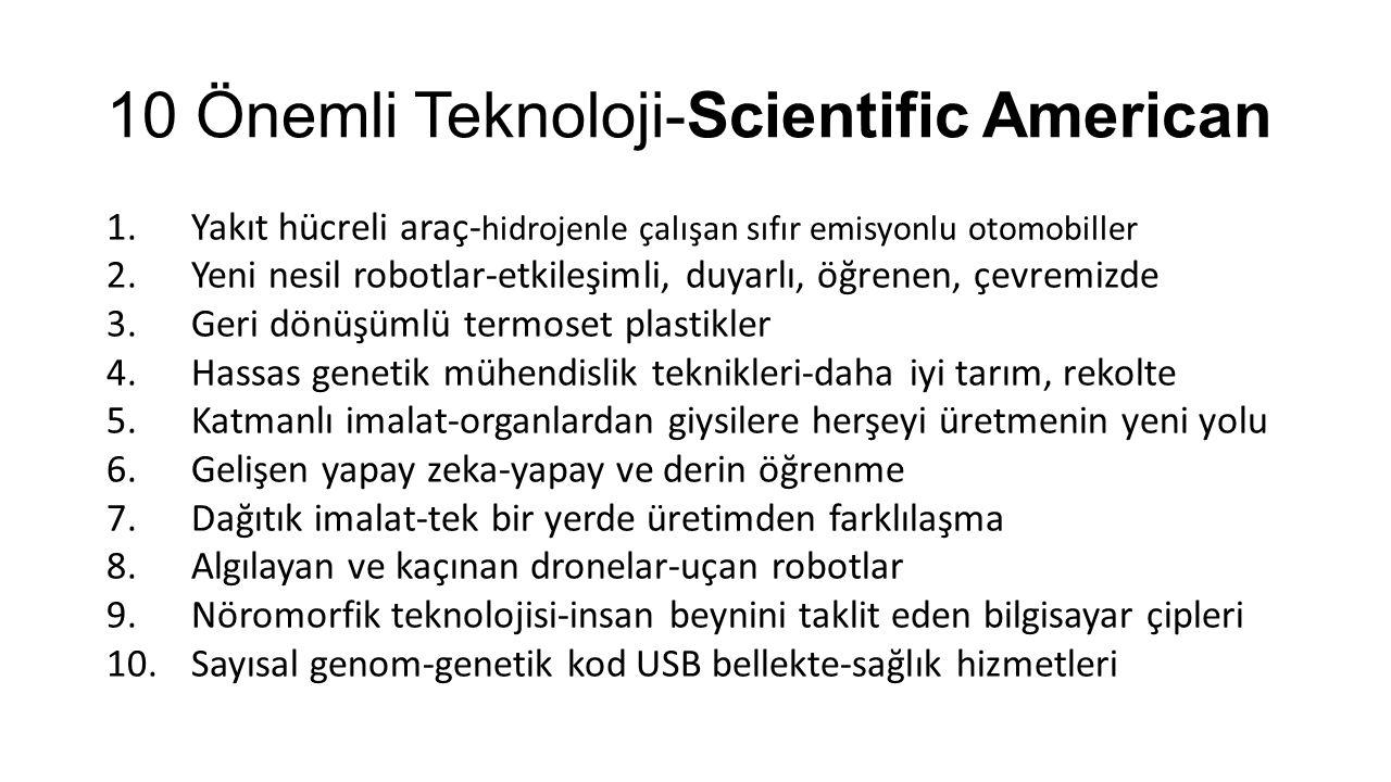 10 Önemli Teknoloji-Scientific American 1.Yakıt hücreli araç- hidrojenle çalışan sıfır emisyonlu otomobiller 2.Yeni nesil robotlar-etkileşimli, duyarlı, öğrenen, çevremizde 3.Geri dönüşümlü termoset plastikler 4.Hassas genetik mühendislik teknikleri-daha iyi tarım, rekolte 5.Katmanlı imalat-organlardan giysilere herşeyi üretmenin yeni yolu 6.Gelişen yapay zeka-yapay ve derin öğrenme 7.Dağıtık imalat-tek bir yerde üretimden farklılaşma 8.Algılayan ve kaçınan dronelar-uçan robotlar 9.Nöromorfik teknolojisi-insan beynini taklit eden bilgisayar çipleri 10.Sayısal genom-genetik kod USB bellekte-sağlık hizmetleri
