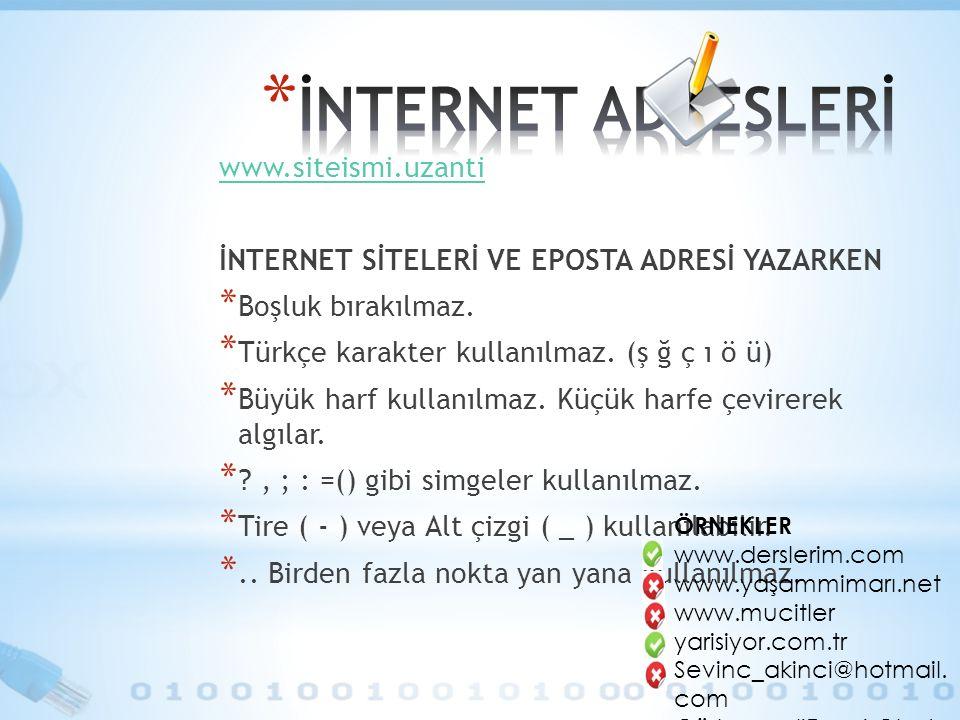 www.siteismi.uzanti İNTERNET SİTELERİ VE EPOSTA ADRESİ YAZARKEN * Boşluk bırakılmaz.