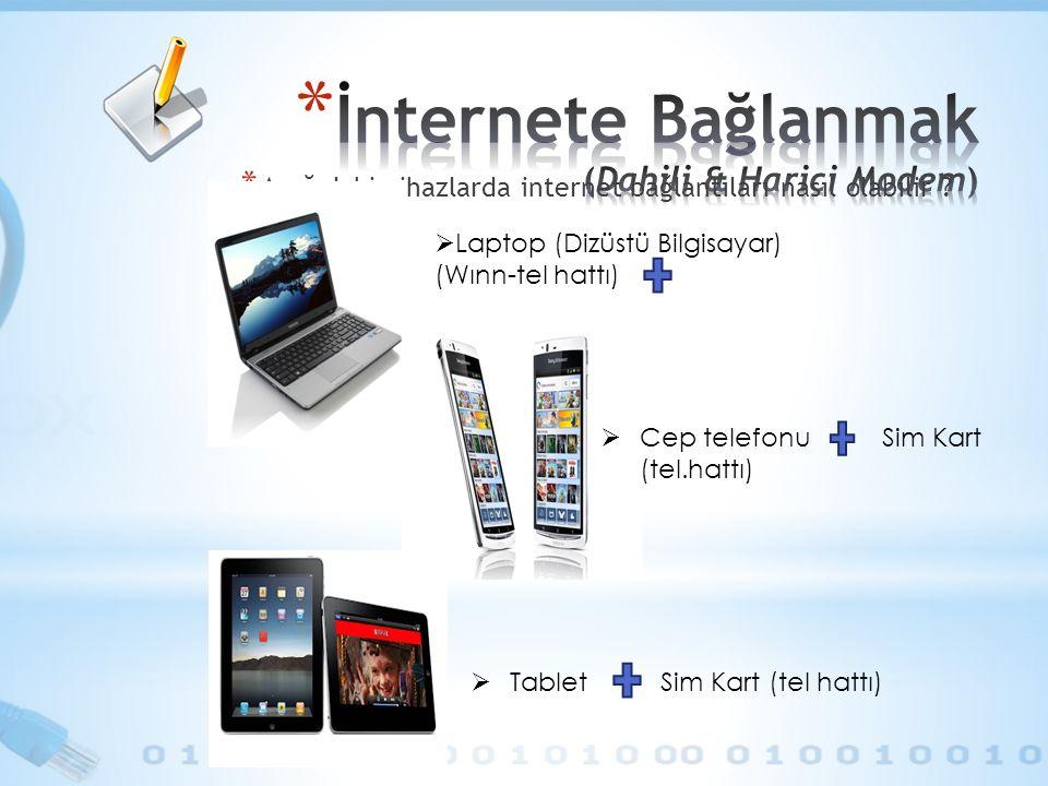 * Aşağıdaki cihazlarda internet bağlantıları nasıl olabilir .
