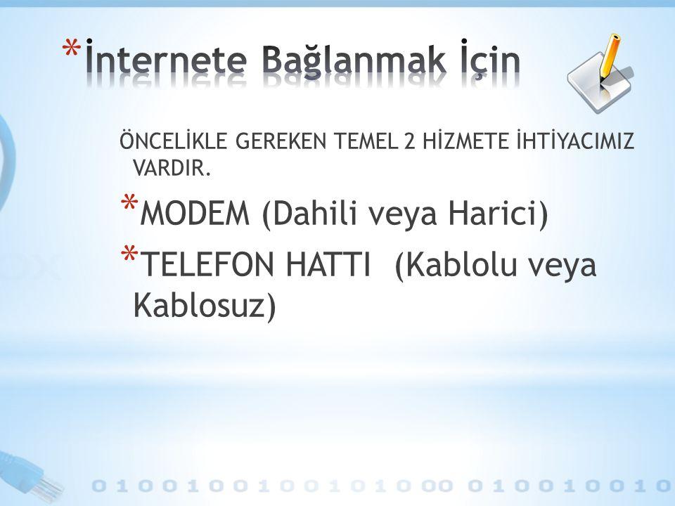 ÖNCELİKLE GEREKEN TEMEL 2 HİZMETE İHTİYACIMIZ VARDIR. * MODEM (Dahili veya Harici) * TELEFON HATTI (Kablolu veya Kablosuz)