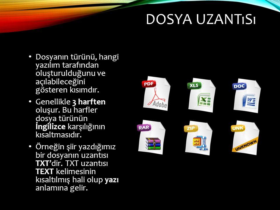 DOSYA UZANTıSı Dosyanın türünü, hangi yazılım tarafından oluşturulduğunu ve açılabileceğini gösteren kısımdır.
