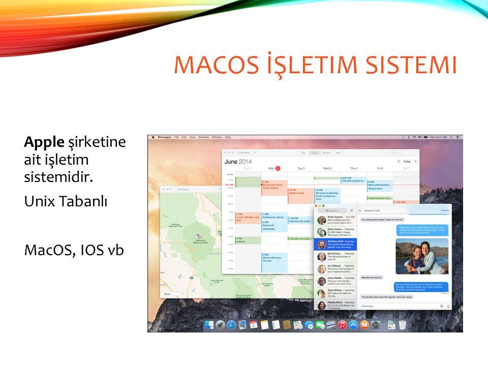 MACOS İŞLETIM SISTEMI Apple şirketine ait işletim sistemidir. Unix Tabanlı MacOS, IOS vb