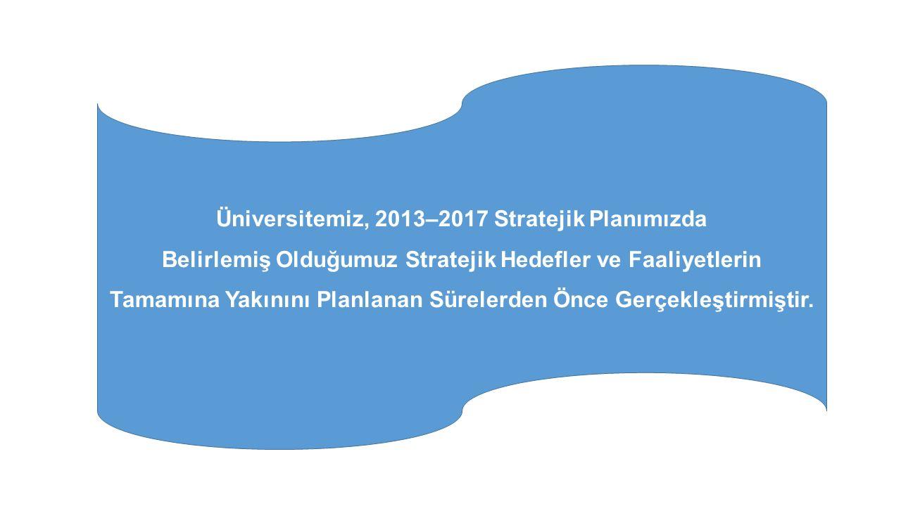 Üniversitemiz, 2013–2017 Stratejik Planımızda Belirlemiş Olduğumuz Stratejik Hedefler ve Faaliyetlerin Tamamına Yakınını Planlanan Sürelerden Önce Gerçekleştirmiştir.