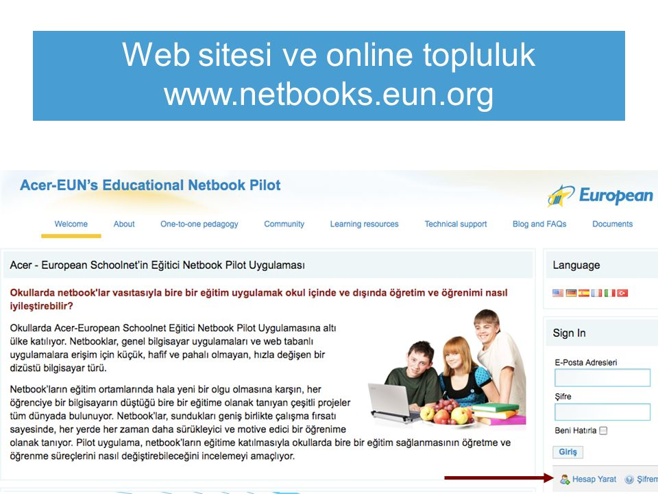 www.netbooks.eun.org Web sitesi ve online topluluk www.netbooks.eun.org