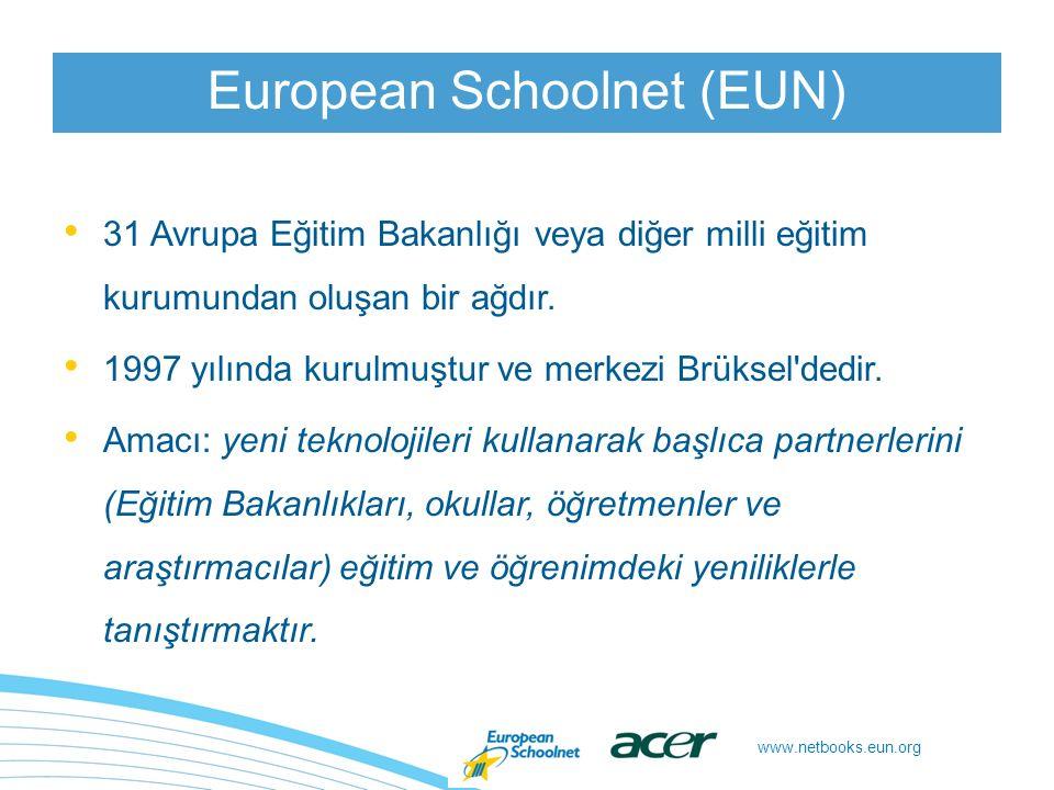 www.netbooks.eun.org 1:1, kullanıcı başına düşen ekipman oranını, yani her öğrenciye bir netbook düştüğünü belirtmektedir.