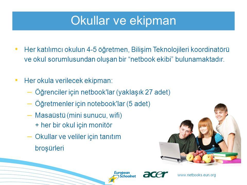 www.netbooks.eun.org Öğretmen ve öğrencilerin netbook ları bir eğitim bağlamında kullandığı bir pedagojik proje planlamaları Netbook takımı planlaması: – 2 veya daha fazla öğretmen, öğrencilerin netbook ları derslerde kullandığı müfredatlar arası bir proje oluşturmak amacıyla çalışır – bir öğretmen netbook ların kendi dersinde kullanıldığı tek bir proje oluşturur Çeşitli bağlamlar: – netbook ların okulda ve evde kullanımı – netbook ların bireysel ve işbirliği halinde kullanımı Öğretmenlerden ne bekleniyor?
