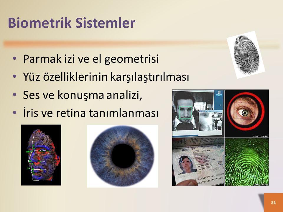 Biometrik Sistemler 31 Parmak izi ve el geometrisi Yüz özelliklerinin karşılaştırılması Ses ve konuşma analizi, İris ve retina tanımlanması