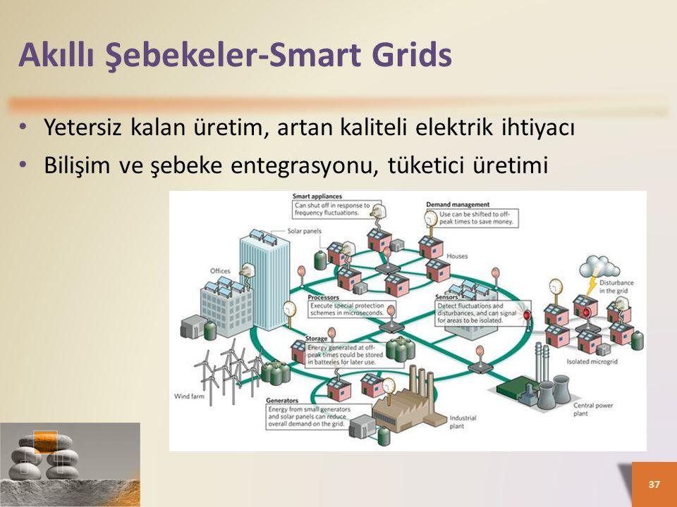 Akıllı Şebekeler-Smart Grids Yetersiz kalan üretim, artan kaliteli elektrik ihtiyacı Bilişim ve şebeke entegrasyonu, tüketici üretimi 37