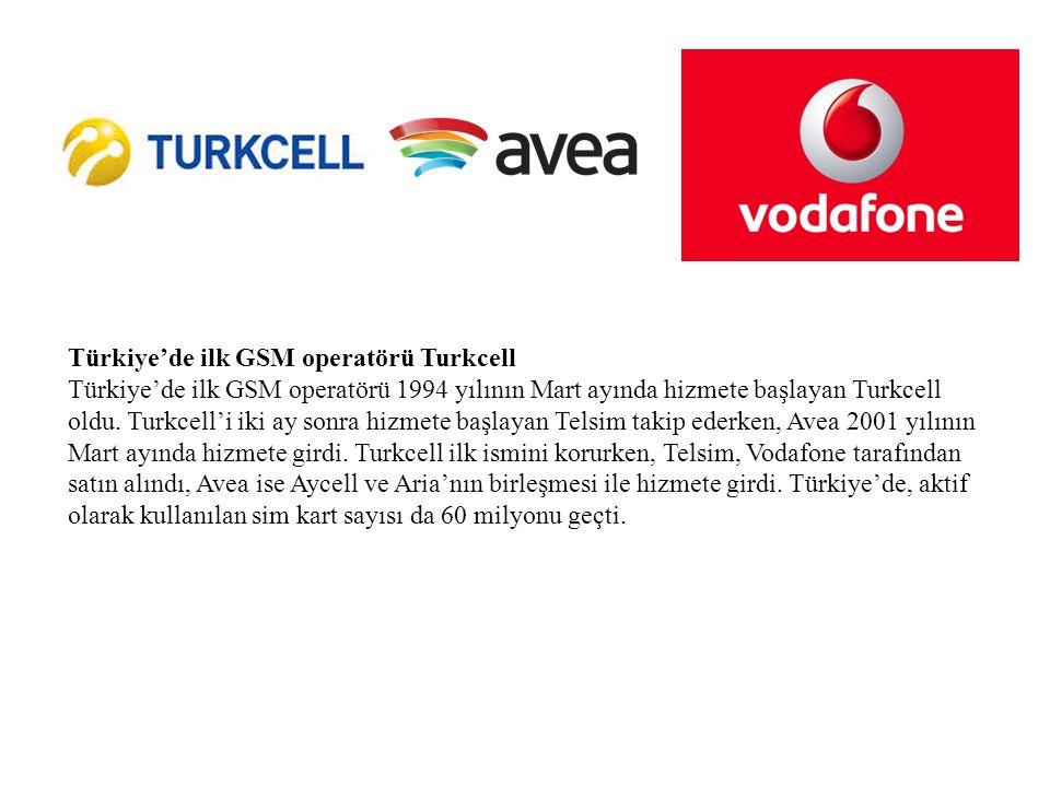 Türkiye'de ilk GSM operatörü Turkcell Türkiye'de ilk GSM operatörü 1994 yılının Mart ayında hizmete başlayan Turkcell oldu.