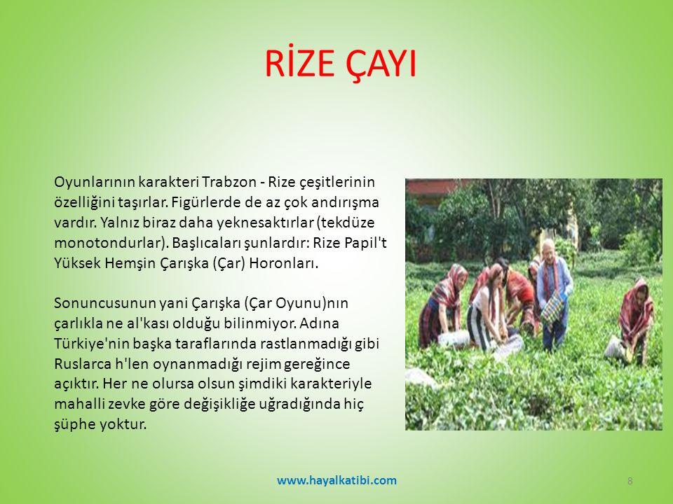 RİZE ÇAYI Oyunlarının karakteri Trabzon - Rize çeşitlerinin özelliğini taşırlar.