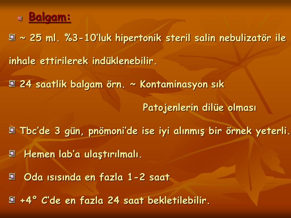 Balgam: ~ 25 ml. %3-10'luk hipertonik steril salin nebulizatör ile inhale ettirilerek indüklenebilir. ~ 25 ml. %3-10'luk hipertonik steril salin nebul