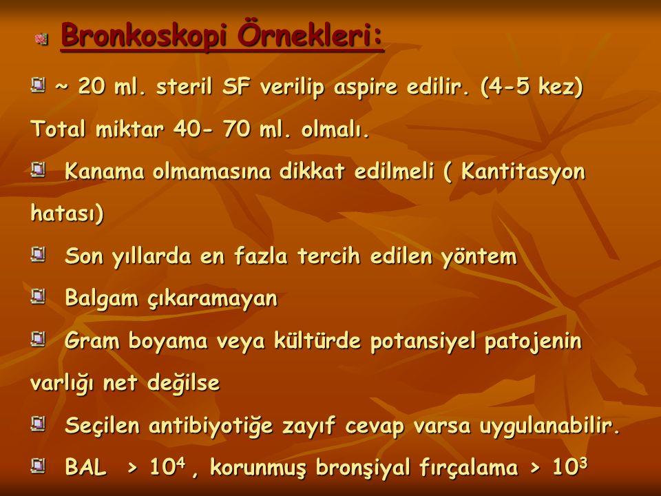 Bronkoskopi Örnekleri: ~ 20 ml. steril SF verilip aspire edilir. (4-5 kez) Total miktar 40- 70 ml. olmalı. ~ 20 ml. steril SF verilip aspire edilir. (