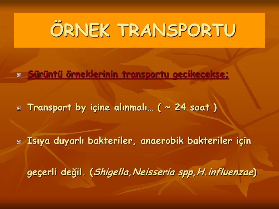 Sürüntü örneklerinin transportu gecikecekse; Transport by içine alınmalı… ( ~ 24 saat ) Isıya duyarlı bakteriler, anaerobik bakteriler için geçerli de