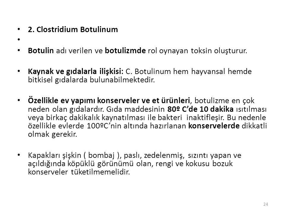 2.Clostridium Botulinum Botulin adı verilen ve botulizmde rol oynayan toksin oluşturur.