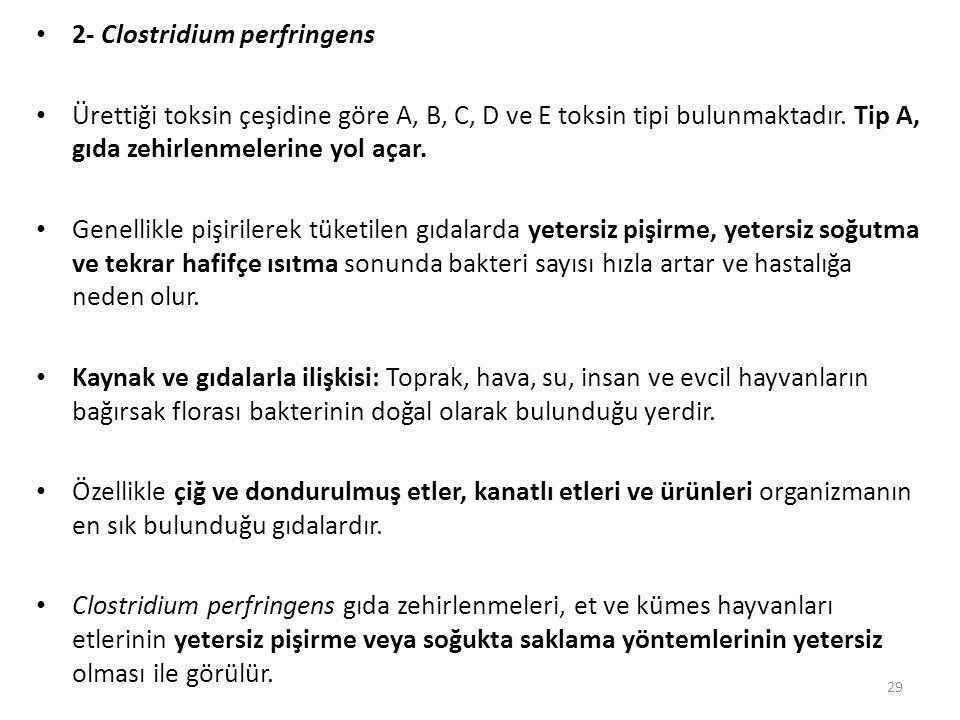 2- Clostridium perfringens Ürettiği toksin çeşidine göre A, B, C, D ve E toksin tipi bulunmaktadır.
