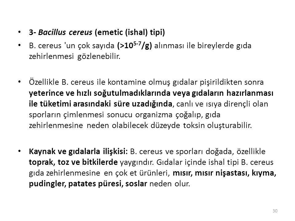 3- Bacillus cereus (emetic (ishal) tipi) B.