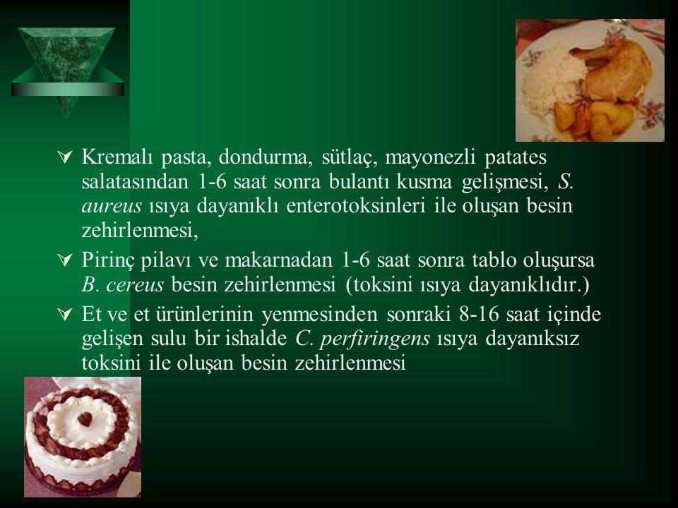  Kremalı pasta, dondurma, sütlaç, mayonezli patates salatasından 1-6 saat sonra bulantı kusma gelişmesi, S.