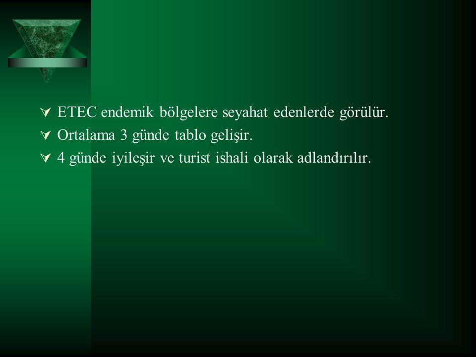  ETEC endemik bölgelere seyahat edenlerde görülür.