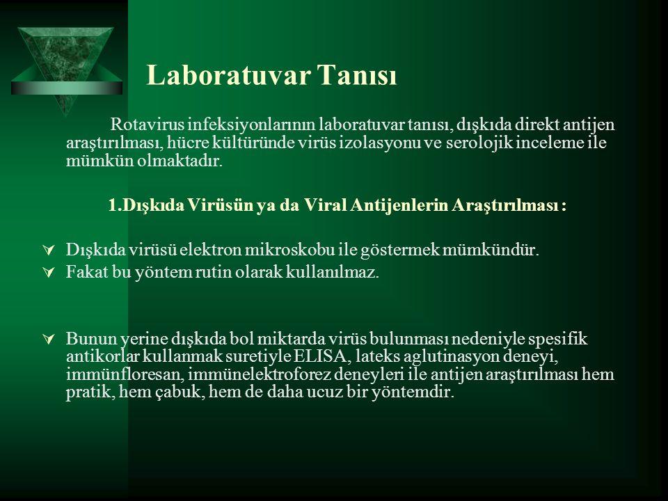 Laboratuvar Tanısı Rotavirus infeksiyonlarının laboratuvar tanısı, dışkıda direkt antijen araştırılması, hücre kültüründe virüs izolasyonu ve serolojik inceleme ile mümkün olmaktadır.