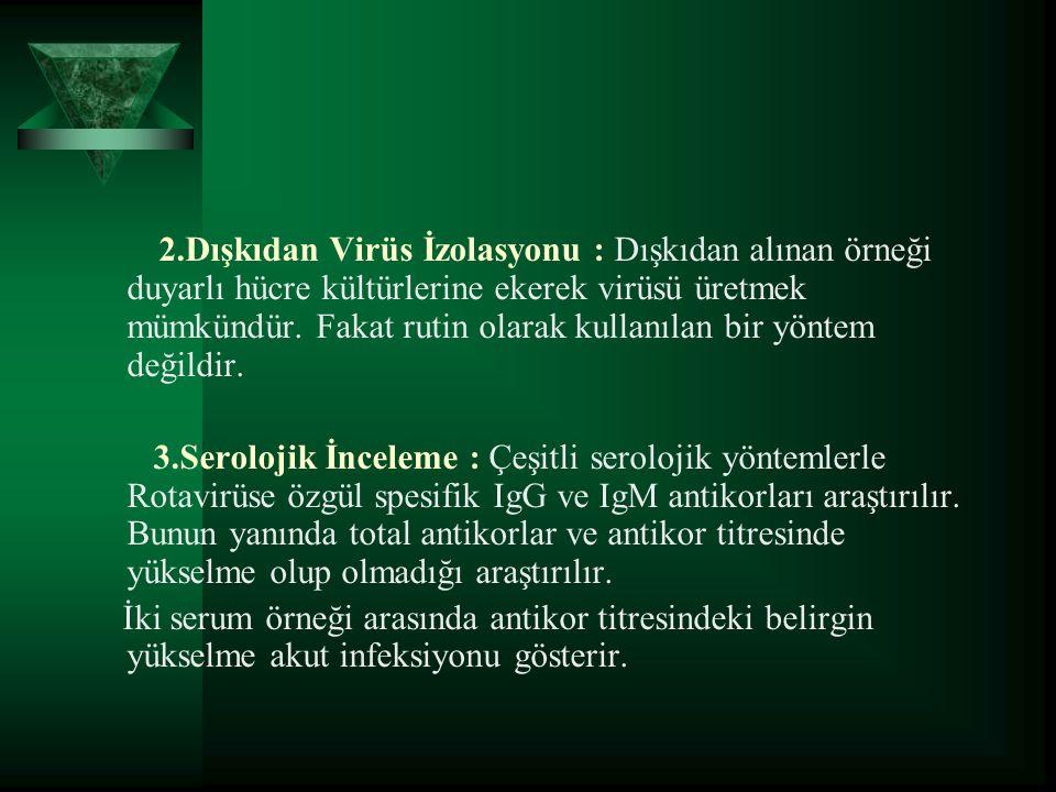 2.Dışkıdan Virüs İzolasyonu : Dışkıdan alınan örneği duyarlı hücre kültürlerine ekerek virüsü üretmek mümkündür.