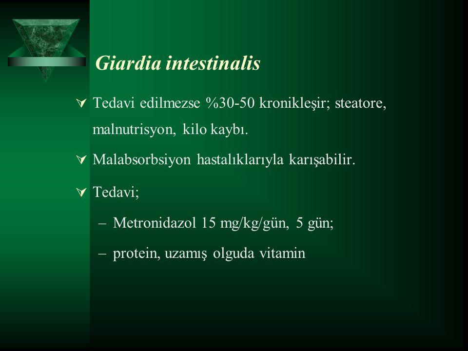  Tedavi edilmezse %30-50 kronikleşir; steatore, malnutrisyon, kilo kaybı.