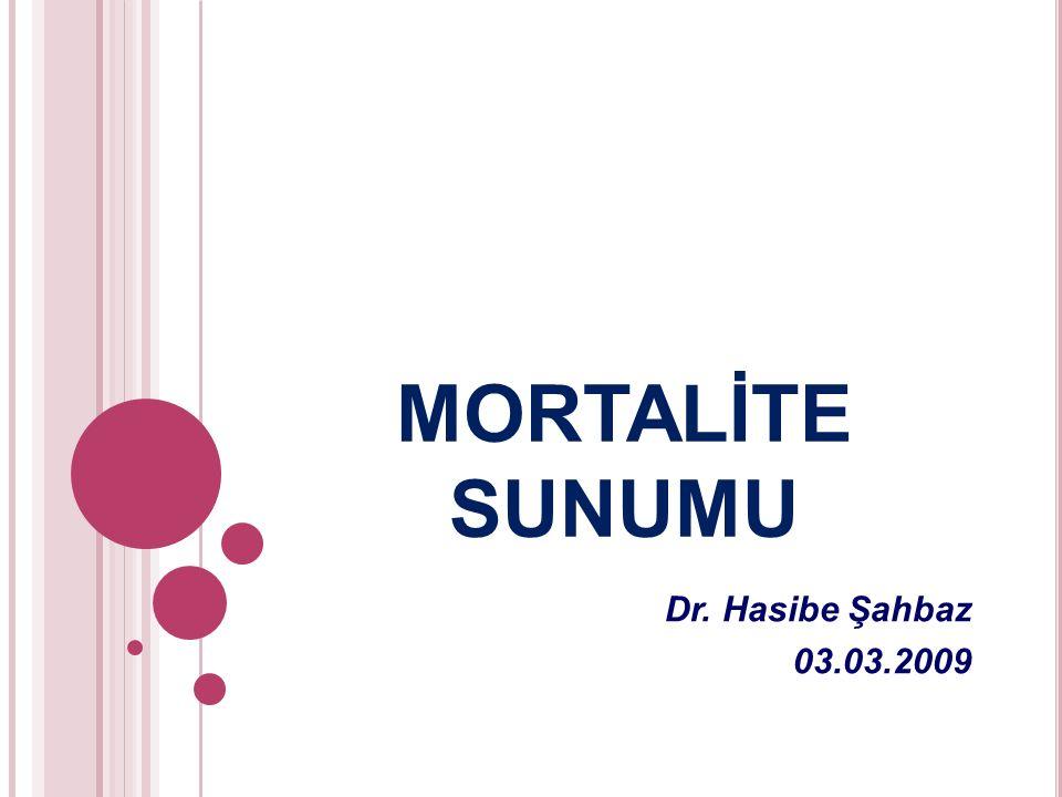 MORTALİTE SUNUMU Dr. Hasibe Şahbaz 03.03.2009