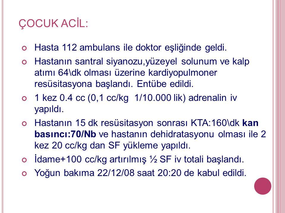 ÇOCUK ACİL: Hasta 112 ambulans ile doktor eşliğinde geldi.