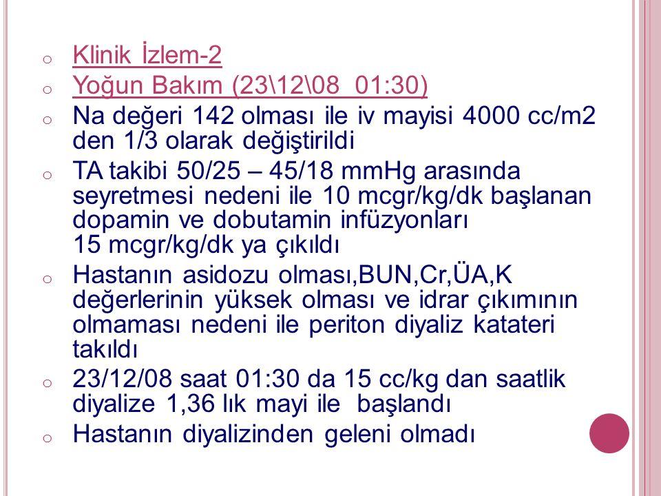 o Klinik İzlem-2 o Yoğun Bakım (23\12\08 01:30) o Na değeri 142 olması ile iv mayisi 4000 cc/m2 den 1/3 olarak değiştirildi o TA takibi 50/25 – 45/18 mmHg arasında seyretmesi nedeni ile 10 mcgr/kg/dk başlanan dopamin ve dobutamin infüzyonları 15 mcgr/kg/dk ya çıkıldı o Hastanın asidozu olması,BUN,Cr,ÜA,K değerlerinin yüksek olması ve idrar çıkımının olmaması nedeni ile periton diyaliz katateri takıldı o 23/12/08 saat 01:30 da 15 cc/kg dan saatlik diyalize 1,36 lık mayi ile başlandı o Hastanın diyalizinden geleni olmadı