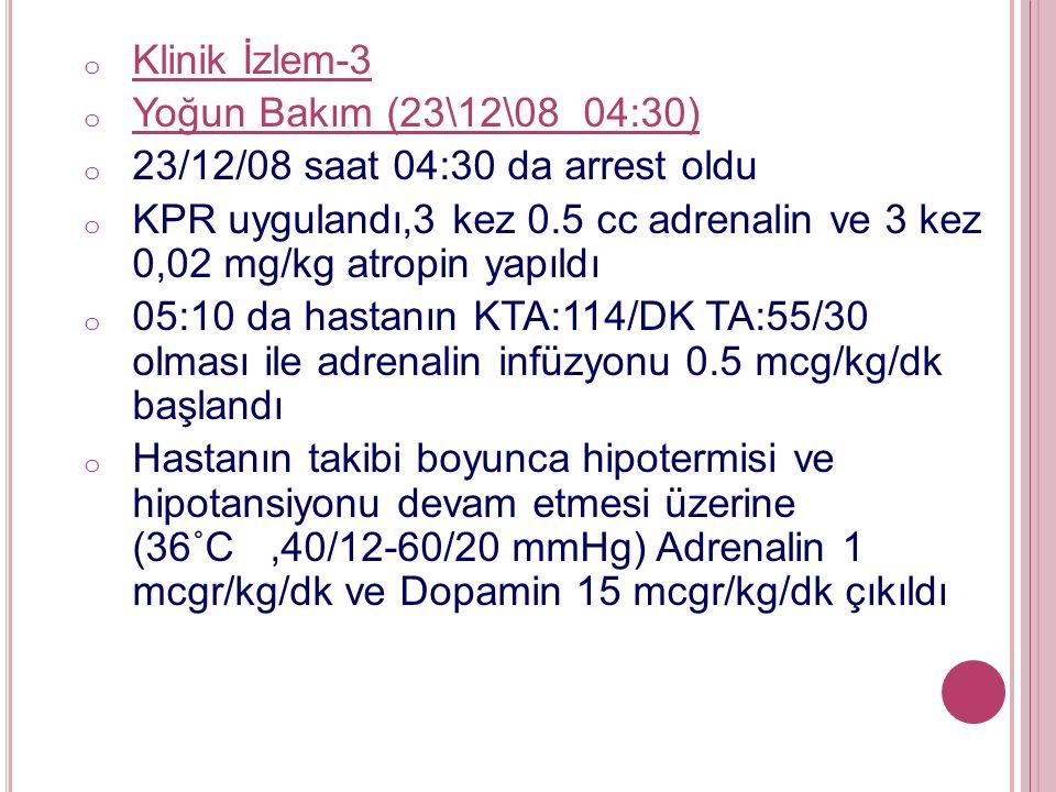 o Klinik İzlem-3 o Yoğun Bakım (23\12\08 04:30) o 23/12/08 saat 04:30 da arrest oldu o KPR uygulandı,3 kez 0.5 cc adrenalin ve 3 kez 0,02 mg/kg atropin yapıldı o 05:10 da hastanın KTA:114/DK TA:55/30 olması ile adrenalin infüzyonu 0.5 mcg/kg/dk başlandı o Hastanın takibi boyunca hipotermisi ve hipotansiyonu devam etmesi üzerine (36˚C,40/12-60/20 mmHg) Adrenalin 1 mcgr/kg/dk ve Dopamin 15 mcgr/kg/dk çıkıldı