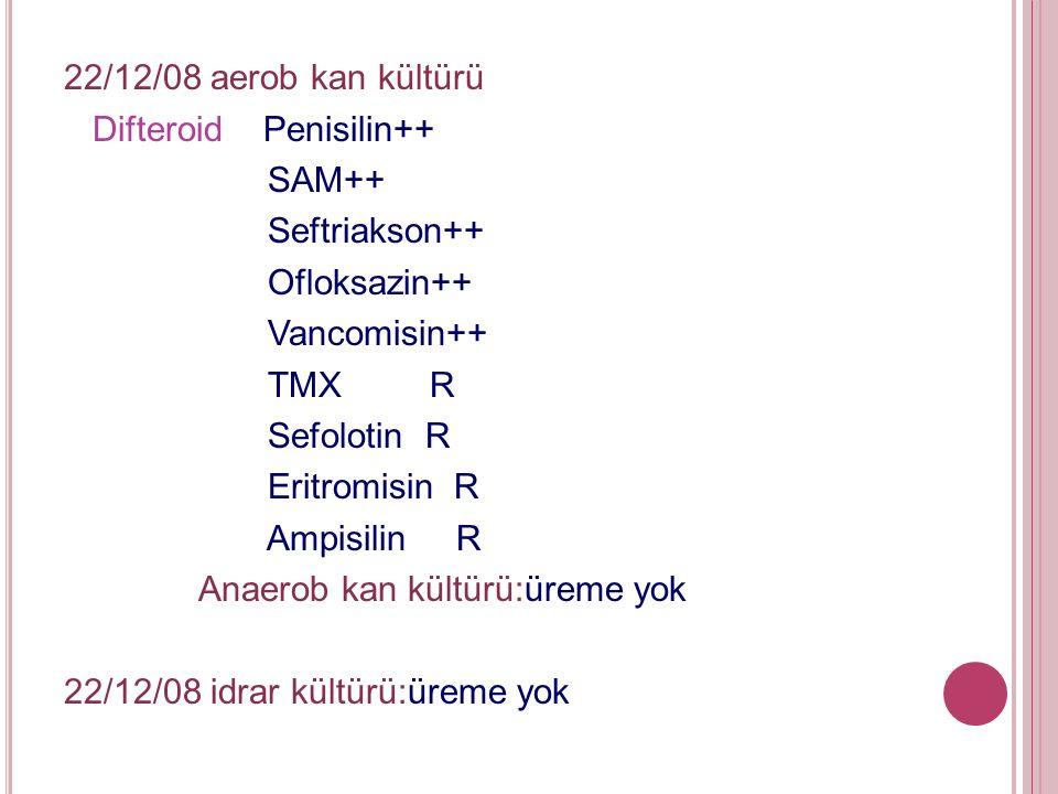 22/12/08 aerob kan kültürü Difteroid Penisilin++ SAM++ Seftriakson++ Ofloksazin++ Vancomisin++ TMX R Sefolotin R Eritromisin R Ampisilin R Anaerob kan kültürü:üreme yok 22/12/08 idrar kültürü:üreme yok